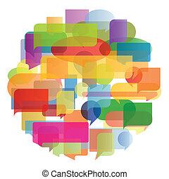 coloridos, ilustração, vetorial, fala, fundo, bolhas, balões...