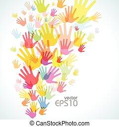coloridos, impressão mão, fundo