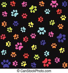 coloridos, impressões, padrão, seamless, pé animal, patas
