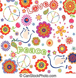 coloridos, infantil, paz, envoltório, símbolo, flores,...