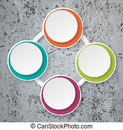 coloridos, infographic, papel, lifecycle, concreto
