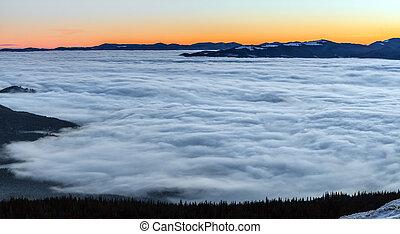 coloridos, inverno, amanhecer, em, a, montanhas.