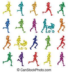 coloridos, inverno, corredores maratona, silhuetas, fundo