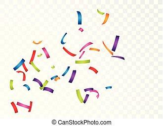 coloridos, isolado, confetti, fundo, transparente, celebração