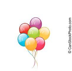 coloridos, isolado, fundo, branca, balões, grupo