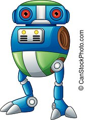coloridos, isolado, robô, fundo, branca, caricatura