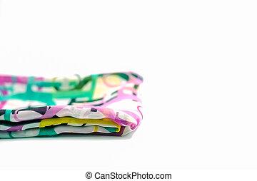 coloridos, isole, costas, dobrar, branca, echarpe, chão