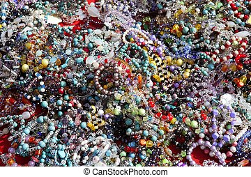 coloridos, jóia, confusão, em, mercado, fundo