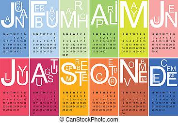 coloridos, jazzy, 2014, calendário, vetorial
