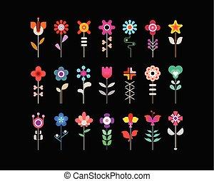coloridos, jogo, ícone, vetorial, flor