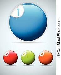 coloridos, jogo, ícones, botões