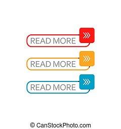 coloridos, jogo, branca, teia, botão, vetorial, ler, mais, elemento, fundo