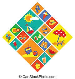 coloridos, jogo, de, verão, ícones