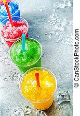 coloridos, lama, bebidas, xícaras plásticas, fila
