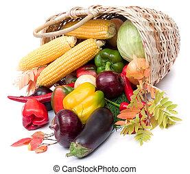 coloridos, legumes, em, cesta