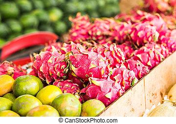 coloridos, legumes, fruta, Vário, frutas, fresco, mercado