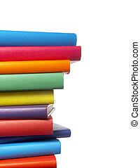 coloridos, livros, pilha, educação