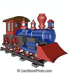 coloridos, locomotiva, ligado, a, trilhos