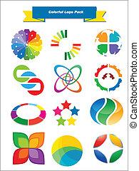 coloridos, logotipo, pacote