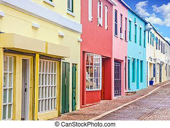 coloridos, lojas, em, bermudas