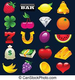 coloridos, máquina slot, ícones