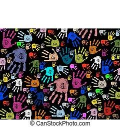 coloridos, mão imprime