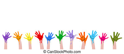 coloridos, mãos