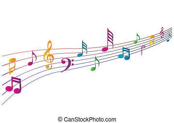 coloridos, música, ícones