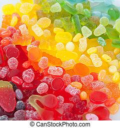 coloridos, macio, doce