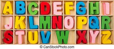 coloridos, madeira, alfabeto, letras, jogo