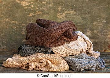 coloridos, madeira, experiência., morno, pilha, roupas