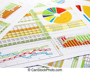 coloridos, mapas vendas, gráficos, relatório, dígitos