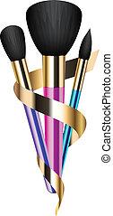 coloridos, maquiagem, escovas