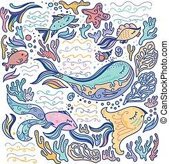 coloridos, mar, ilustração