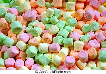 coloridos, miniatura, marshmallows