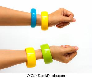 coloridos, moda, pulseiras, ligado, mulher, passe, branca, experiência.
