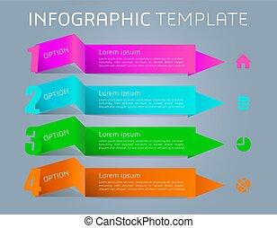 coloridos, modernos, ribbons., vetorial, modelo, infographics, opções
