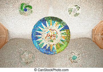 coloridos, mosaico, em, parc, guell.