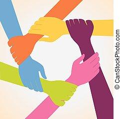 coloridos, muitas mãos, criativo, equipe, anel