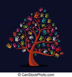 coloridos, multi-étnico, mão imprime, árvore