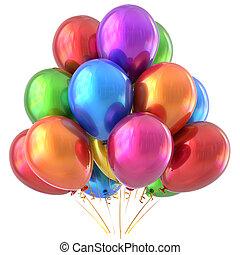 coloridos,  Multicolored, decoração, aniversário, Partido, balões, Feliz