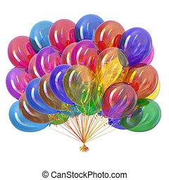 coloridos, multicolored., lustroso, partido, balões, balloon, grupo
