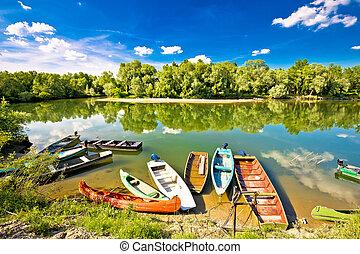 coloridos, mura, rios, drava, boca, barcos