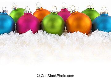 coloridos, natal, bolas, ligado, a, neve
