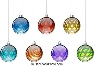 coloridos, natal, bolas, vetorial, jogo, isolado, branco, experiência.
