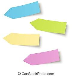 coloridos, notas, -, cobrança, pegajoso, seta