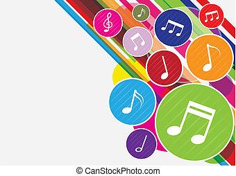 coloridos, notas música, fundo