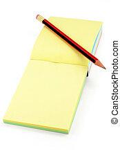 coloridos, notepaper, e, lápis