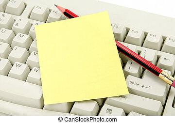 coloridos, notepaper, e, teclado