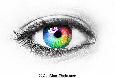 coloridos, olho